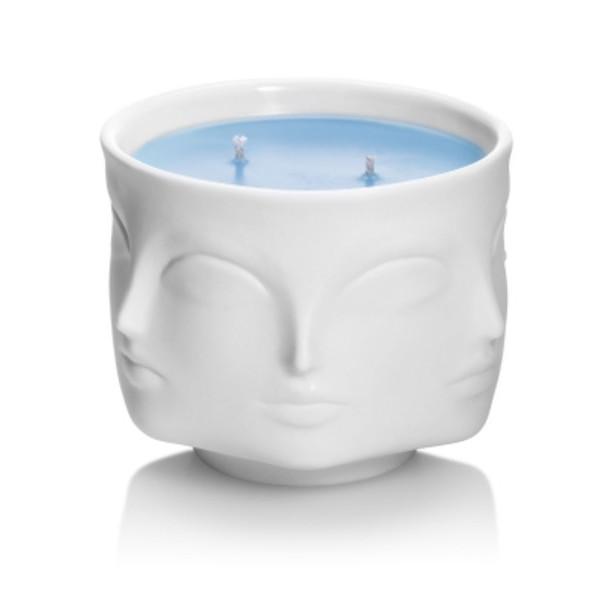 Jonathan Adler White Porcelain Muse Bleu Blue Candle