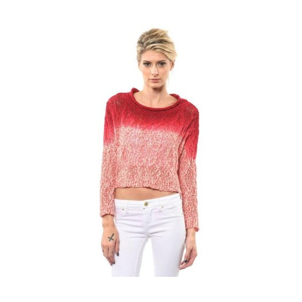 Women's Ombre Red Zodiac Knit Cropped Sweater Top By One Grey Day-M