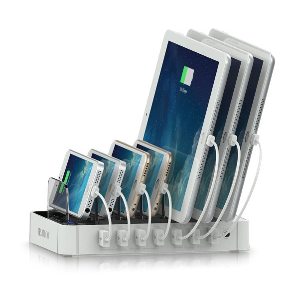 Satechi 7-Port USB Charging Station Dock for iPhone 6 Plus/6/5S/5C/5/4S, iPad Air/Mini/3/2/1, Samsung Galaxy S6 Edge/S6/S5/S4/S3/Note/Note2/Tab, iPod, Nexus, HTC, and more (White)
