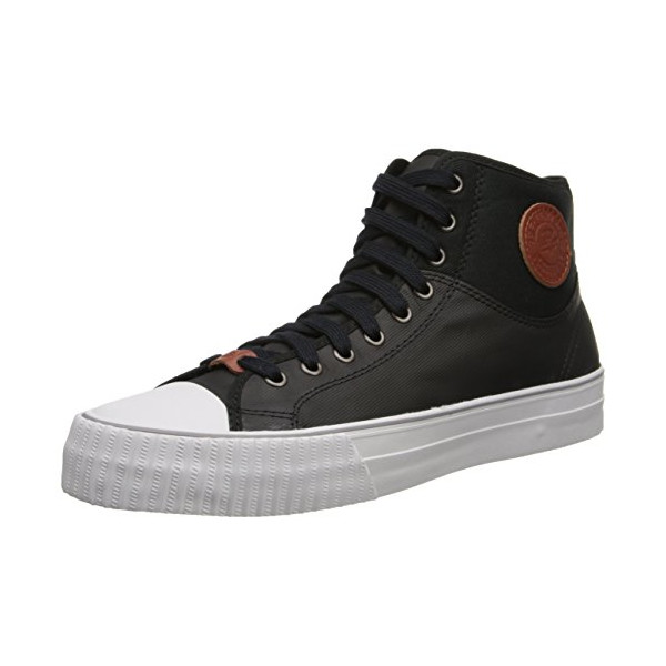 PF Flyers Men's Center Hi Coated Textile Fashion Sneaker,Black,8 D US