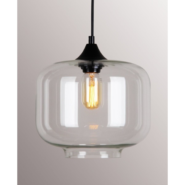 Permo 1 Light Retro Modern Clear Glass Bottle Shade Hanging Pendant Light Fixture with Vintage Rustic Bulbs