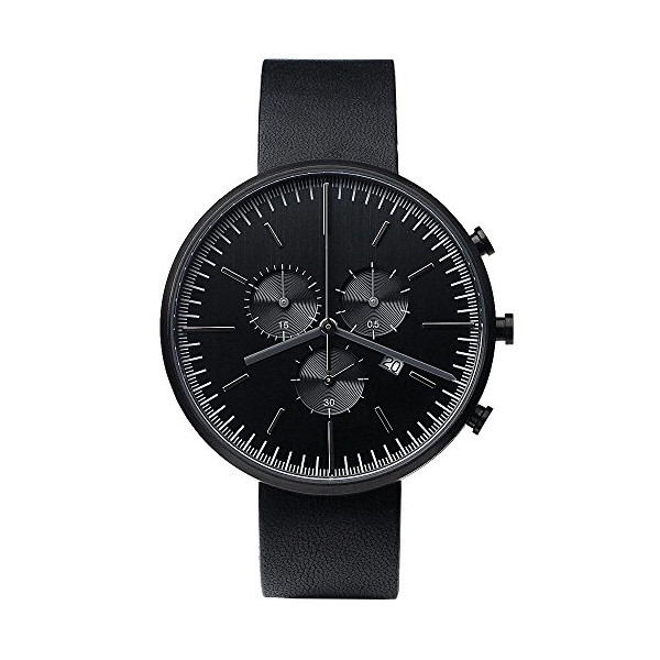 Uniform Wares 302 Series Mens Chronograph Silver Stainless Steel, Black Leather Strap Band Black Dial Watch