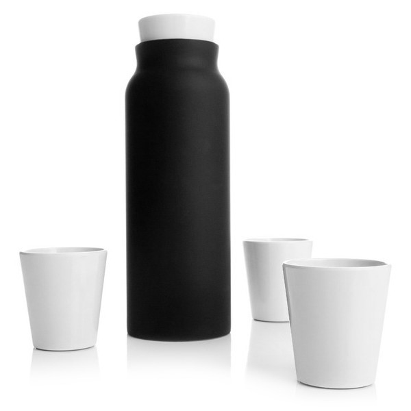 Royal VKB Carafe and Tumblers, Double Walled Steel, Charcoal