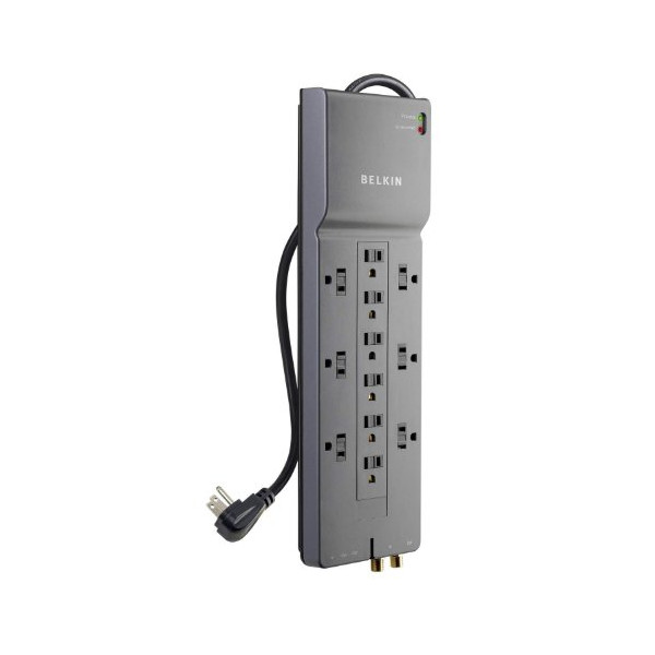 Belkin 12-Outlet Home/Office Surge Protector with 8 ft. Cord, Telephone and Coaxial Protection