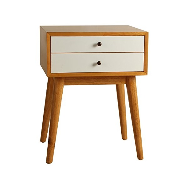 Porthos Home Mid-Century Warm 2-Drawer Side Table Nightsand, White