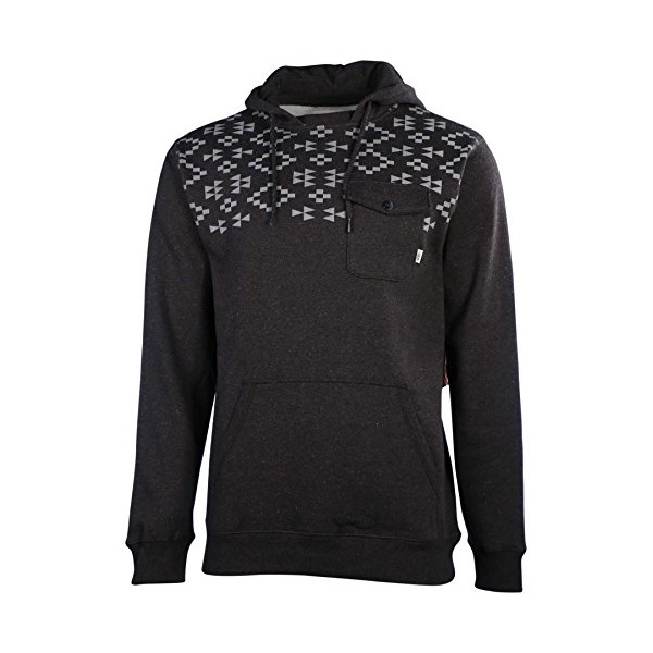 Vans Men's Robley Pocket Pullover Hoodie-Black Heather-Medium