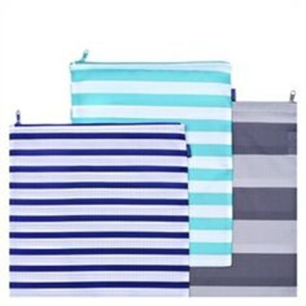 BAGGU Set Of Three Large Zipper Bags - Stripes