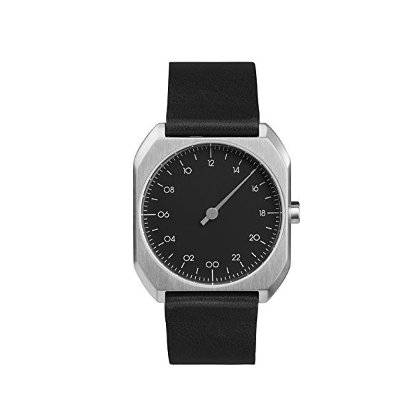 slow Mo 06 - Black Leather, Silver Case, Black Dial