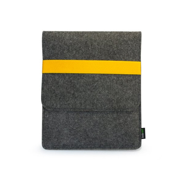 Lavievert Handmade Gray Felt Case Bag Pouch Sleeve with Yellow Elastic Band as Closure for iPad 1 2 3 4