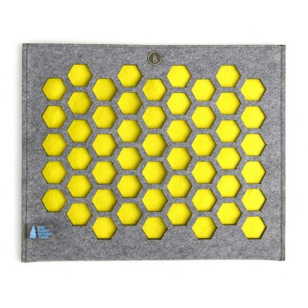 Mad Rabbit Kicking Tiger Ataro, iPad Sleeve, Gray/Yellow