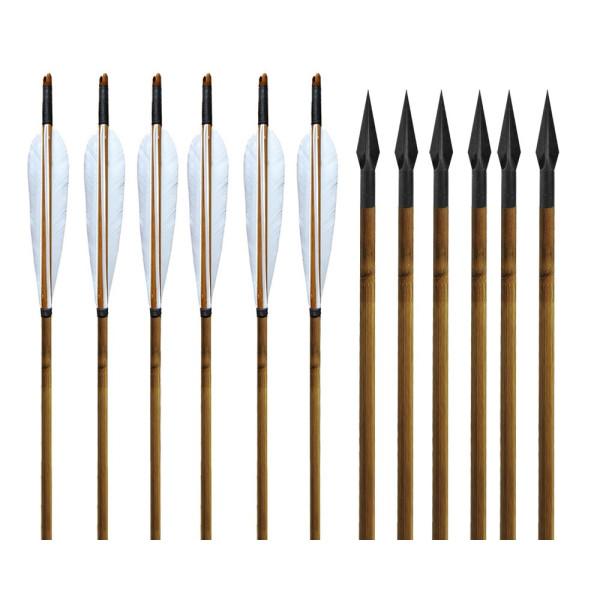 Handmade Bamboo Shafts Arrows & 150gr Archery Broadheads