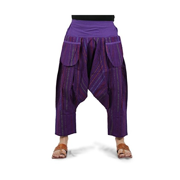 THS Mens Shorts Harem Capri 3/4 Boho Hippie Drop Crotch Capri Pants One Size (Purple)