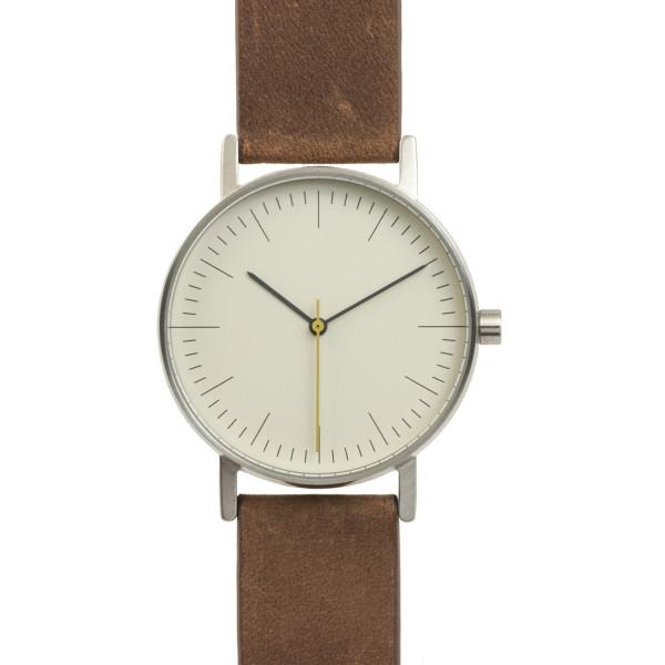 BIJOUONE B001 Series Brown Leather Stainless Steel Swiss Quartz Unisex Watch