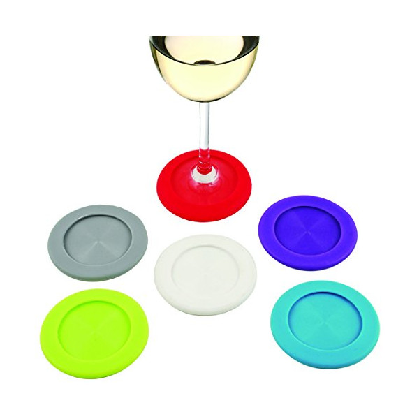 True  by True Fabrications Giftable Grab and Go Slip on Wine Glass Coasters in Colorful, Set of 6