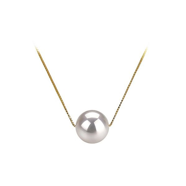 Kristine White 8-9mm AAA Quality Japanese Akoya 14K Yellow Gold Pearl Pendant