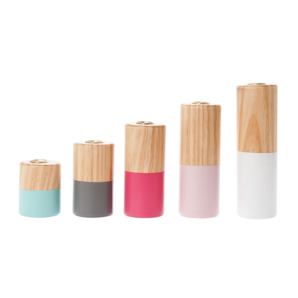 Present Time Dip it Multi Pastel Pinewood Candle Holder, Set of 5