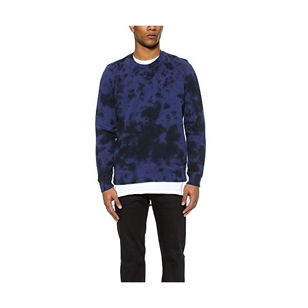 Vince Men's Marl Dyed Sweatshirt, Indigo/Coastal, Medium