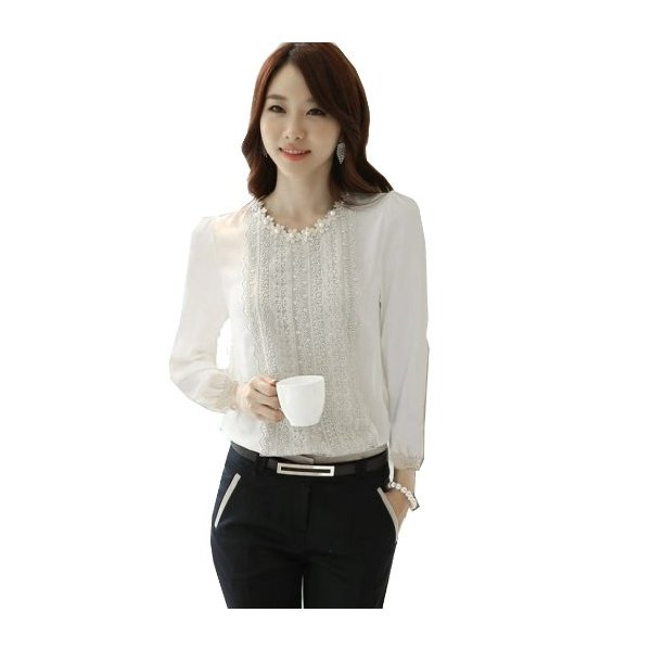 Zeagoo Women's Chiffon Long Sleeve Blouse Tops Shirts Lace Embellished