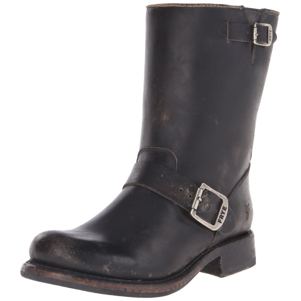"FRYE Women's Jenna Engineer Boot,  Black - ""Brush Off"" Leather, 8.5 M US"