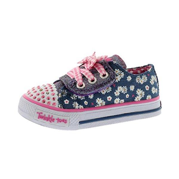 Skechers Kids 10469N Light-Up Sneaker,Denim/Pink,6 M US Toddler