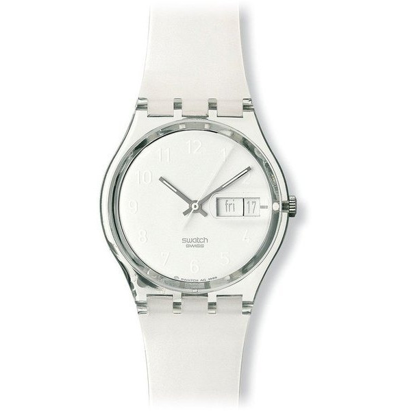 Swatch Women's Quartz White Dial Plastic Date Watch