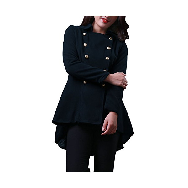 Ladies Turn Down Collar Double Breasted Long Sleeve Overcoat