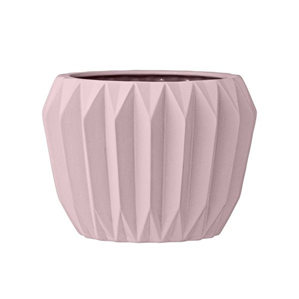 Bloomingville Round Ceramic Fluted Flower Pot, Nude
