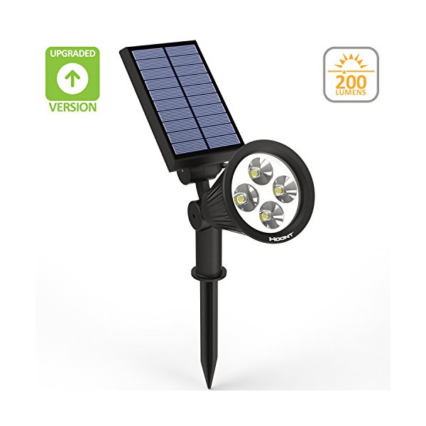 The Hoont™ 2-in-1 Bright Outdoor LED Solar Spotlight / Solar Powered Light for Patio, Entrance, Landscape, Garden, Driveway, Yard, Lawn, Etc./ Great for Accents, Security Lighting, Pool Area, Etc. [UPGRADED VERSION]