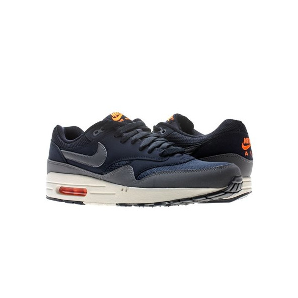 Nike Air Max 1 Essential - Dark Obsidian / Dark Grey-Light Brown-Total Orange, 10.5 D US
