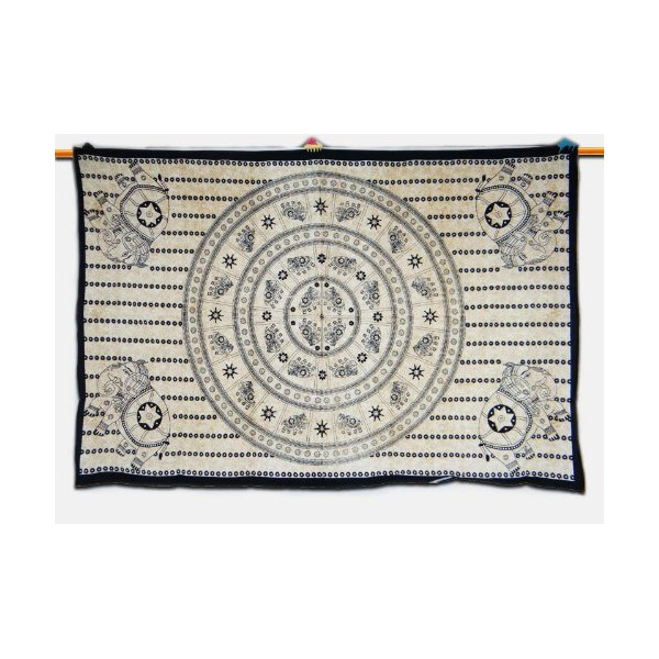 Mandala Elephant Tapestry Wall Decor Table Cloth White Bed Sheet Throw Gift Art