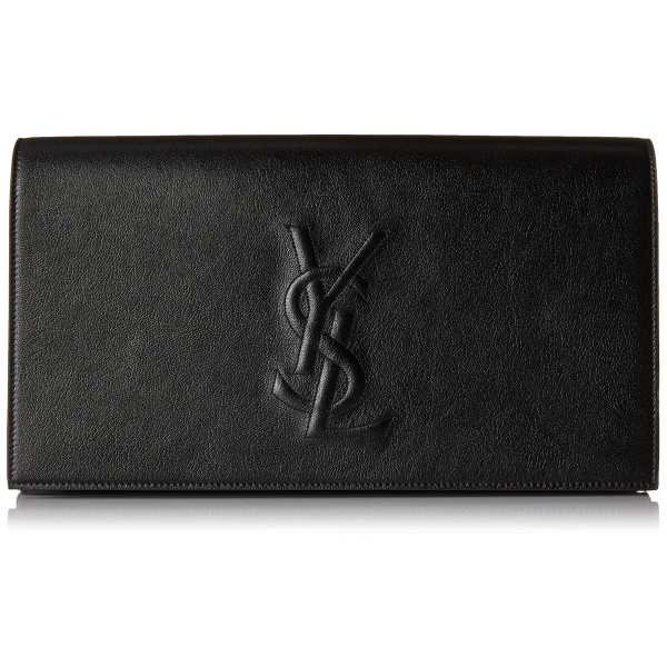Yves Saint Laurent Belle De Jour Black Leather Large Clutch Bag