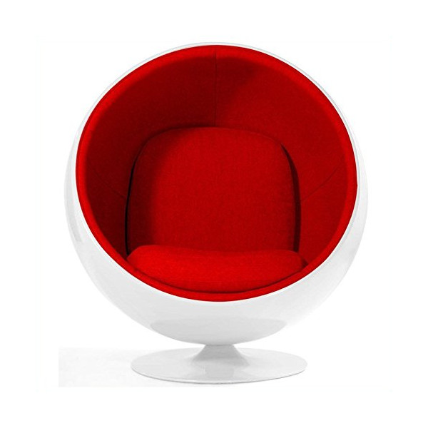 Luna Circle Lounge Chair - White/Red