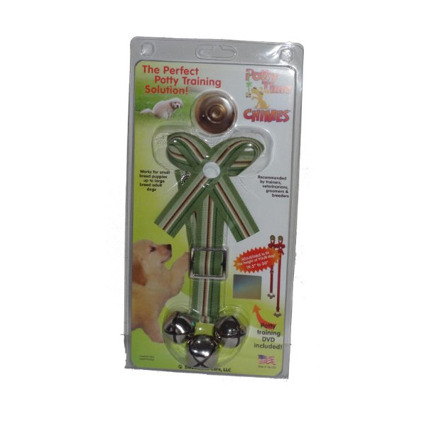 Green + Brown Ribbon Adjustable Potty Training Bells for Dogs with Video