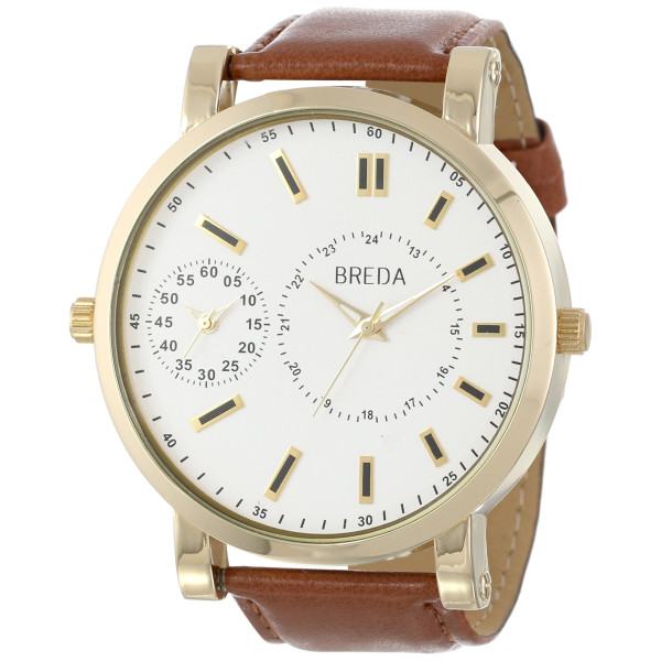 Breda Men's 1637 Gold/Brown Aaron Oversized Watch