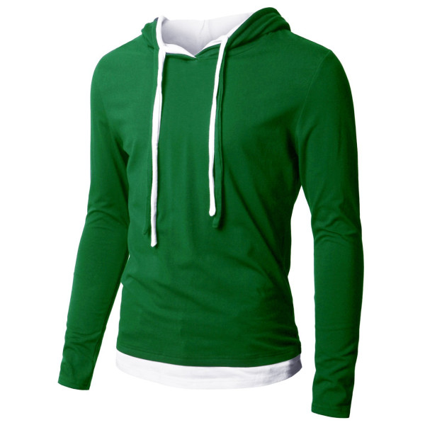Doublju Mens Hood Pull-over with Contrast String GREEN (US-XS)