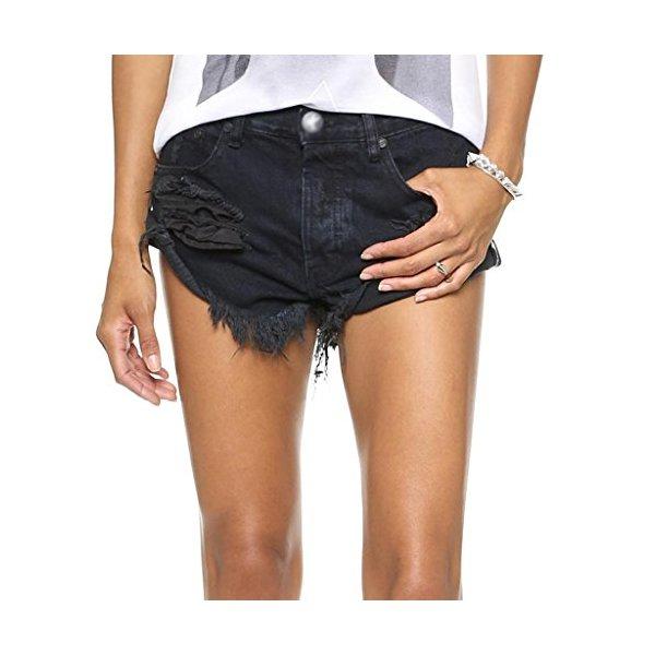Women's Bandits Black Jean Short Distressed Vintage Levi's Frayed Low Rise-L