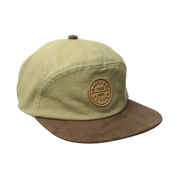 Brixton Men's Oath 7 Panel Cap, Dark Khaki, One Size