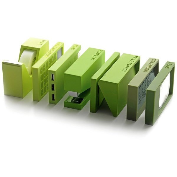 Lexon Buro Desk Accessories, Complete Green Set