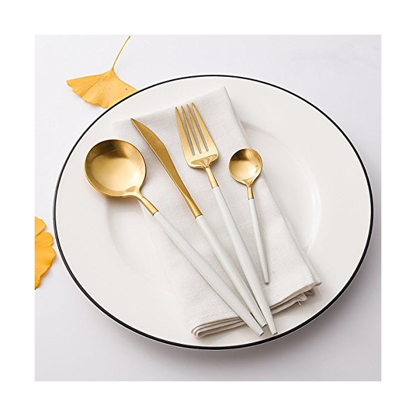 LEKOCH 4-Piece Stainless Steel Flatware Set Including Fork Spoons Knife Tableware (White+Golden)