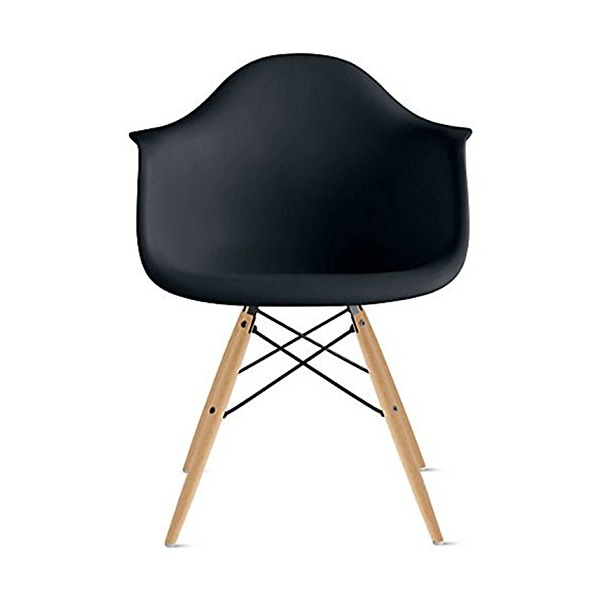 2xhome - Black - Eames Style Armchair Natural Wood Legs Eiffel Dining Room Chair - Lounge Chair Arm Chair Arms Chairs Seats Wooden Wood Leg Wire Leg Dowel Leg Legged Base Chrome Metal Eifel Molded Plastic...