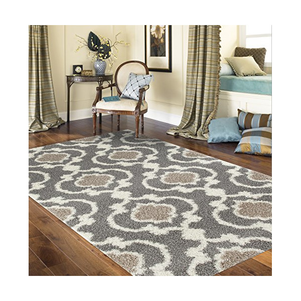 """Cozy Moroccan Trellis Gray/Cream 5'3"""" x 7'3"""" Indoor Shag Area Rug"""