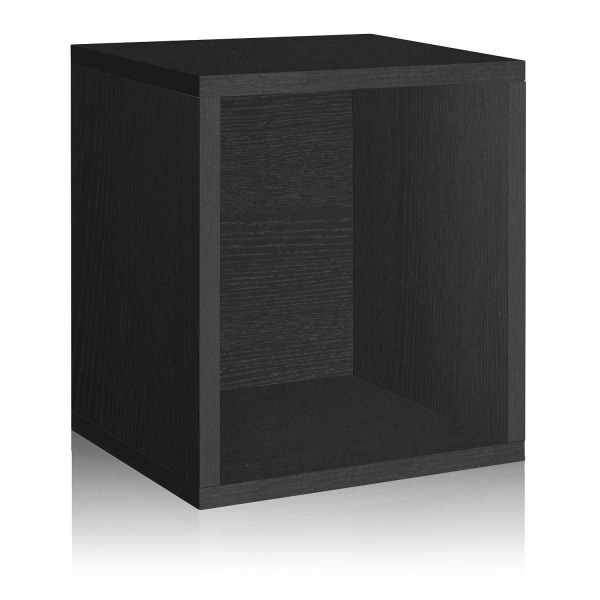 Way Basics Eco Stackable Storage Cube Plus and Cubby Organizer, Black (made from sustainable non-toxic zBoard paperboard)