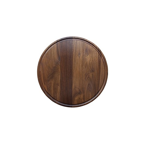 Round Walnut Wood Cheese Cutting Board with Juice Drip Groove (10.5 Inch Diameter)