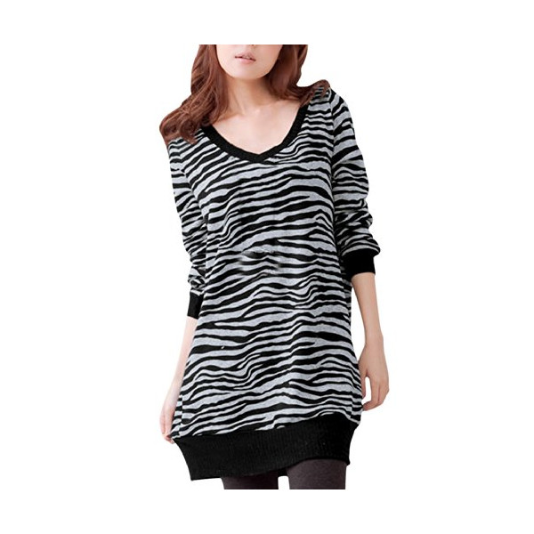 Allegra K Ladies V Neck Zebra Prints Long Sleeve Ribbed Trim Casual Tunic Shirt