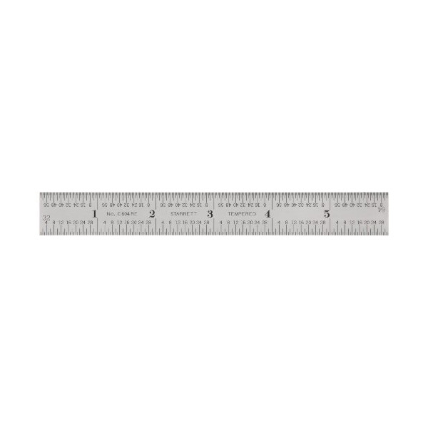 "Starrett C604RE-6 Spring Tempered Steel Rule With Inch Graduations, 6"" Length, 3/4"" Width, 3/64"" Thickness"