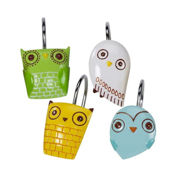 Creative Bath Give a Hoot Shower Hooks, Set of 12