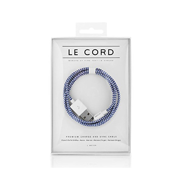 Le Cord Premium Charge Cable iPhone/ iPad New Cable (Broken Ocean)