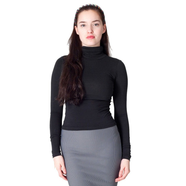 American Apparel Cotton Spandex Jersey Long Sleeve Turtleneck - Black / M