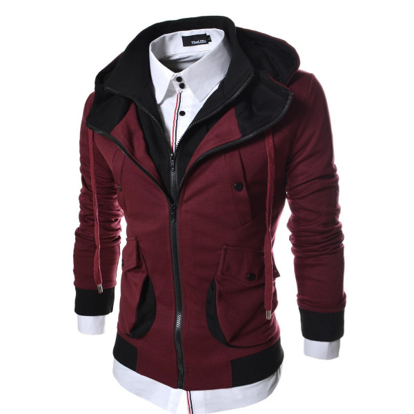TheLees (LCJ4) Mens Casual Slim Fit Multi Pocket Double Zipper Hood Cotton Jacket Wine Medium(US Small)