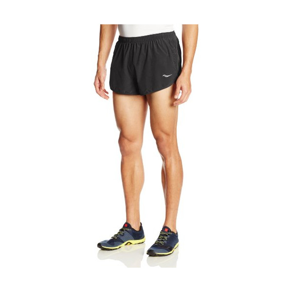 Saucony Men's Inferno Split Shorts, Black/Black, Medium